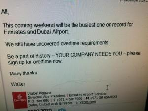 Mr. Walter Riggans e-mail where he is asking staff to come for over time.
