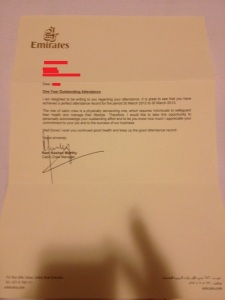 Cabin crew's attendance letter (apologies for low quality).