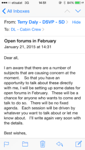 Mr.Terry Daly's call for Open forums