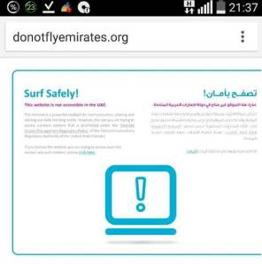 donotflyemirates.org website blocked in UAE for DU users