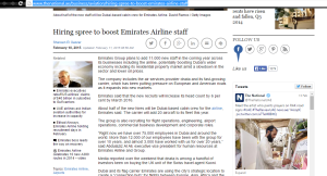 The National Article. Emirates Airline employs 11.000 new staff. http://www.thenational.ae/business/aviation/hiring-spree-to-boost-emirates-airline-staff